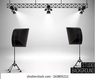 Illustration of Spot light studio background