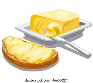 illustration of spreading butter on sliced bread