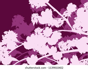 illustration with spring background from blossoming cherry tree branches