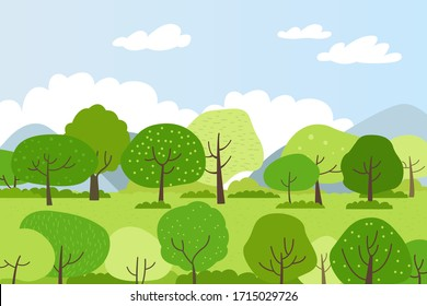 Illustration of a spring landscape with green trees.