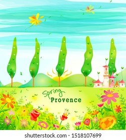 Illustration of Spring in Provence; landscape of countryside in spring