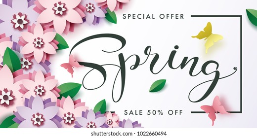 Illustration of Spring sale banner design with paper art of flower and butterfly.Vector eps 10.