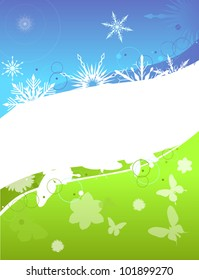 illustration with spring and winter background