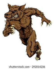 An illustration of a sprinting running wolf or werewolf character, great as a sports or athletics mascot