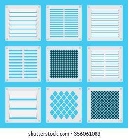 Illustration square ventilation shutters. flat illustration.