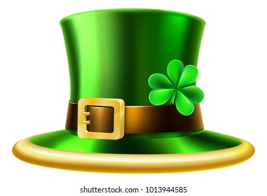 An illustration of a St Patricks day leprechaun shamrock green hat