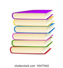 illustration of stack of colorful books on white background