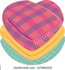 Illustration of a Stack of Folded Blankets Shaped as a Heart for Blanket Donation During Winter