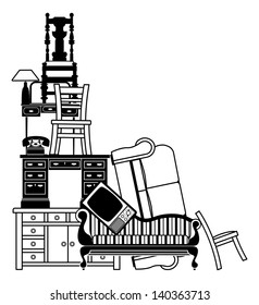 An illustration of a stack of furniture and other household goods. Could be used for house clearance or moving themes or home insurance related.