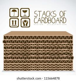 Illustration of stacks of cardboard boxes, cardboard texture, vector illustration