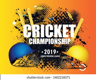 illustration of Stadium of Cricket championship with ball on pitch and VS versus text - Vector