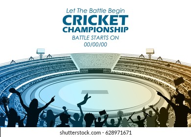 illustration of Stadium of Cricket with pitch for championship match and supporter fan people cheering team