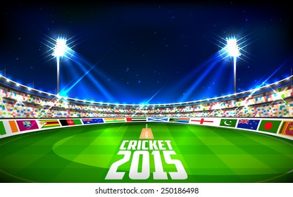illustration of stadium of cricket showing flags of participating countries