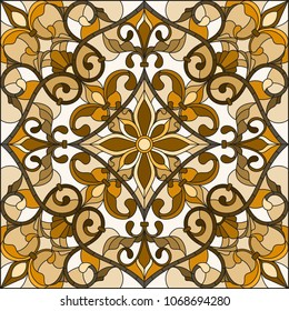 Illustration in stained glass style with abstract  swirls and leaves  on a light background,square orientation, sepia