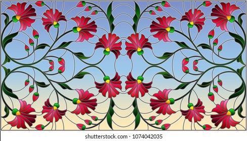 Illustration in stained glass style with abstract pink flowers on a sky  background,horizontal orientation