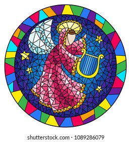 Illustration in stained glass style with an abstract angel in pink robe play the harp in bright frame  , round picture