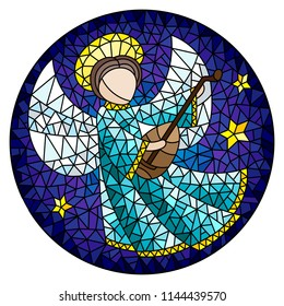Illustration in stained glass style with an abstract angel in pink robe play the lute , round picture