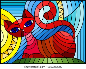 Illustration in stained glass style with abstract red geometric cat  on a blue background