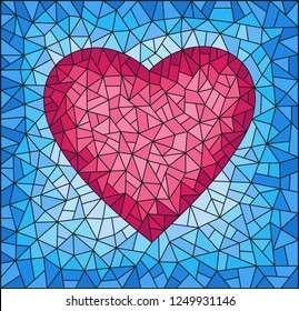 Illustration in stained glass style with abstract pink  heart on blue background, rectangular image
