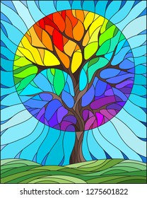 Illustration in stained glass style with abstract rainbow tree, meadow and sky background