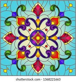 Illustration in stained glass style with abstract floral ornaments, flowers, leaves and curls on blue background, square image