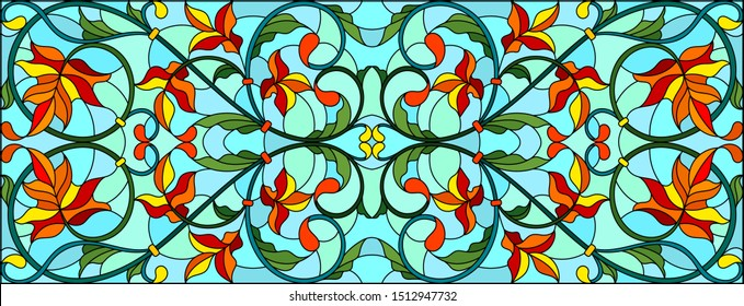 Illustration in stained glass style with abstract  swirls and maple  leaves  on a sky  background,horizontal orientation