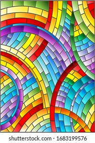 Illustration in stained glass style with abstract bright background, rainbow tiles, rectangular picture