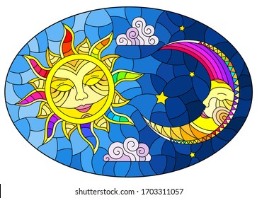 Illustration in stained glass style , abstract sun and moon in the sky, oval image
