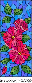 Illustration in stained glass style with abstract intertwined pink flowers and leaves on blue background,vertical orientation