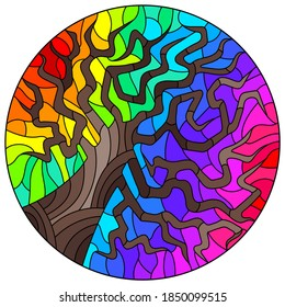 Illustration in stained glass style with an abstract  tree on a rainbow background, round image