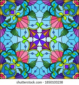 Illustration in the stained glass style with an abstract flower arrangement on a blue background, square image