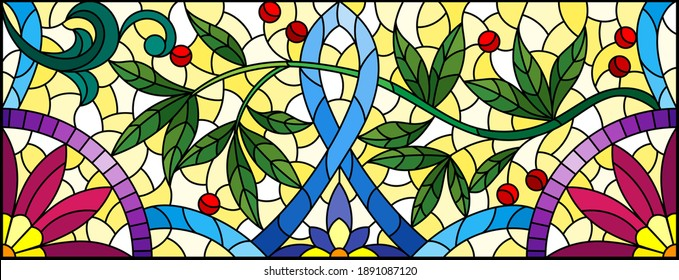 Illustration in stained glass style with abstract flowers, leaves and curls on a yellow background, rectangular horizontal image