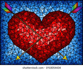 Illustration in stained glass style with an abstract red heart pierced by arrows on a blue background, rectangular image