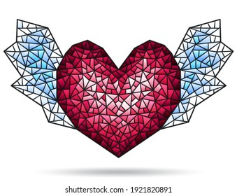 Illustration in stained glass style with abstract winged heart, figure isolated on white background