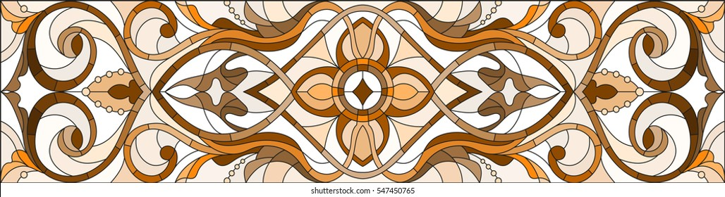 Illustration in stained glass style with abstract swirls and leaves on a light background, horizontal orientation, sepia