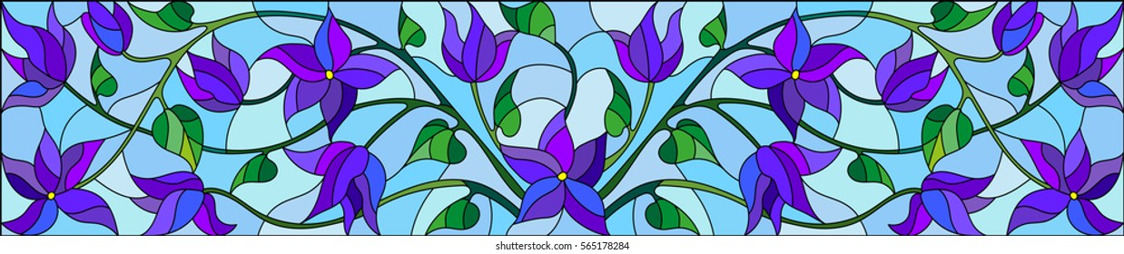 Illustration in stained glass style with abstract blue flowers on a blue  background,horizontal orientation