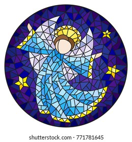 Illustration in stained glass style with an abstract angel in blue robe  , round picture