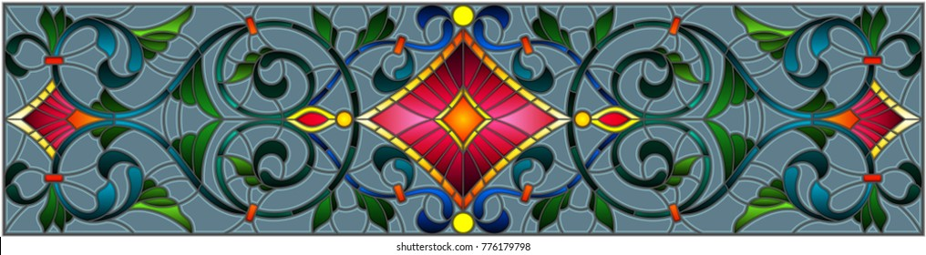 Illustration in stained glass style with abstract  swirls,flowers and leaves  on a grey background,horizontal orientation