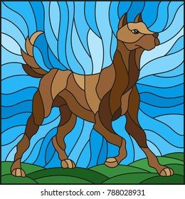 Illustration in stained glass style abstract in brown dog on a background of meadows and sky