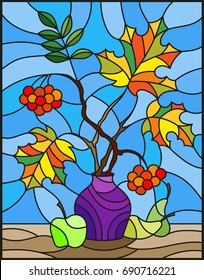 Illustration in stained glass style with autumn still life, branches of mountain ash and maple in purple vase and fruit on a blue background