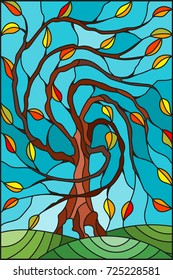 Illustration in stained glass style with autumn willow tree on sky background