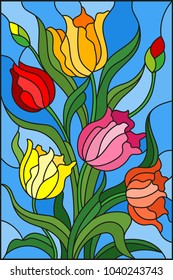 Illustration in stained glass style with a bouquet of colorful tulips on a blue background