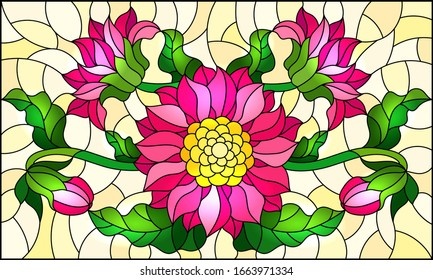 Illustration in stained glass style with a bouquet of pink flowers on a yellow background