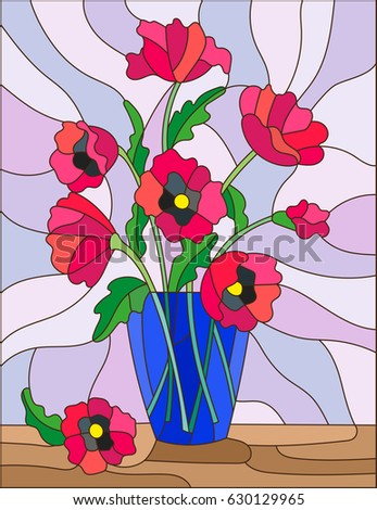 Illustration Stained Glass Style Bouquets Pink Stock Vector Royalty