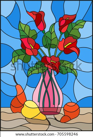 Illustration Stained Glass Style Bouquets Red Stock Vector Royalty