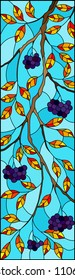 Illustration in stained glass style with a branch of black chokeberry, clusters of berries and leaves against the sky,vertical image