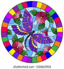 Illustration in stained glass style with a bright pink flowera and purple dragonfly on a blue background, round image in bright frame