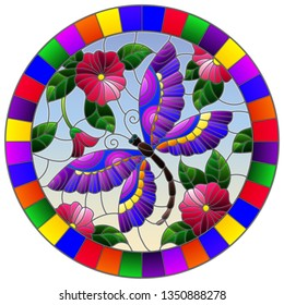 Illustration in stained glass style with a bright pink flowera and purple dragonfly on a sky background, round image in bright frame