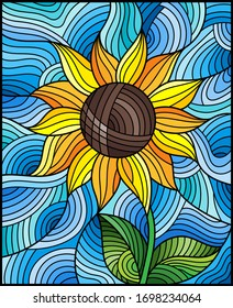 Illustration in stained glass style with bright yellow abstract flower on a blue wavy background