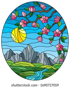 Illustration in stained glass style with the cherry blossoms on a background of mountains, sky , sun  and river, oval image